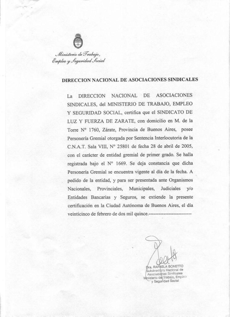 Certificado Ministerio de Trabajo Año 2014 2016
